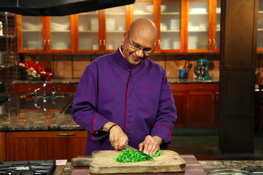 Chef Raghavan Iyer cutting herbs