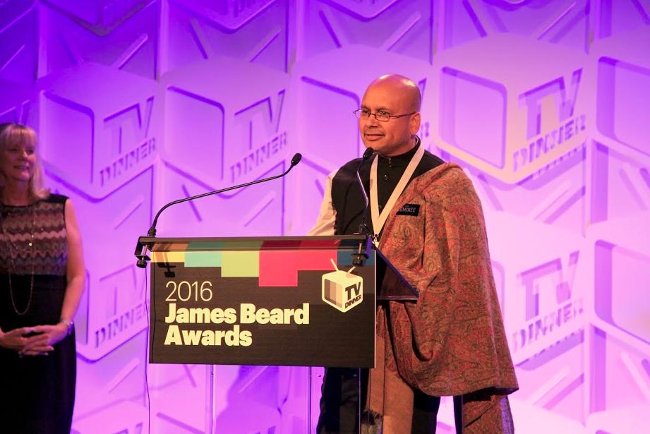 Raghavan Iyer accepting his James Beard Award