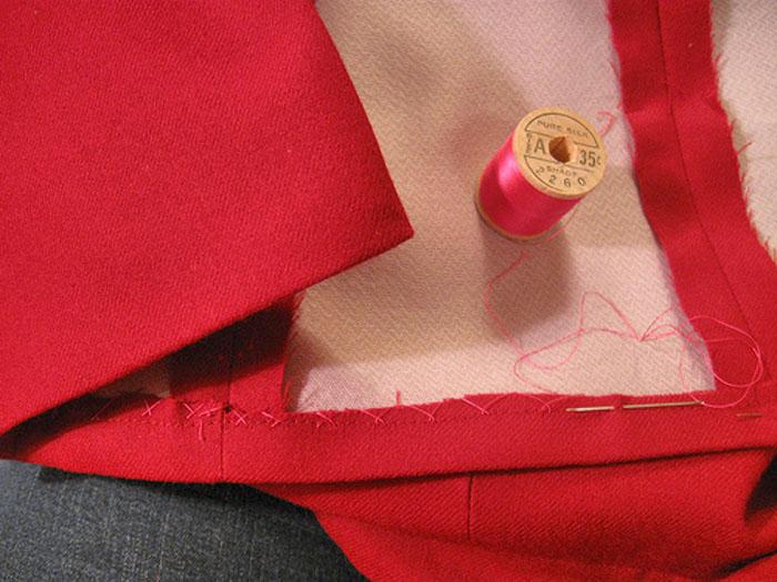 hidden hem sewn with silk thread