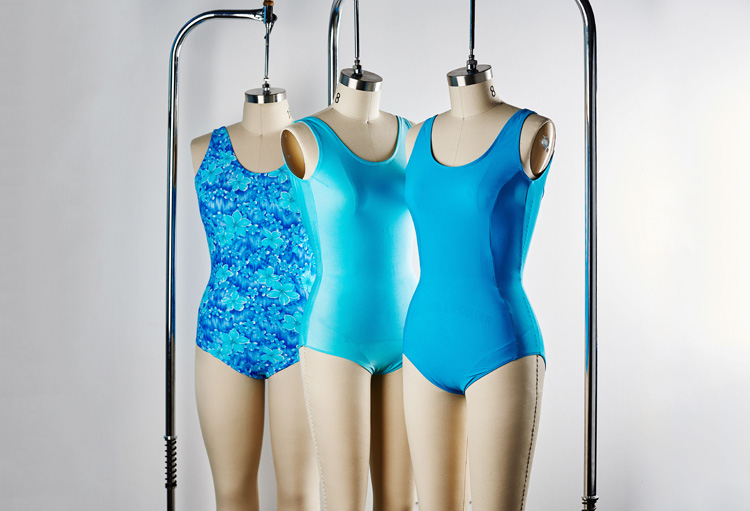 blue swimsuits on dress forms