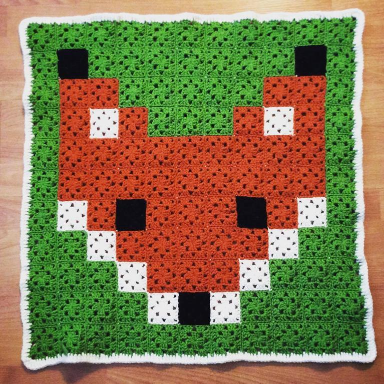 Granny Square Fox Blanket FREE Crochet Pattern
