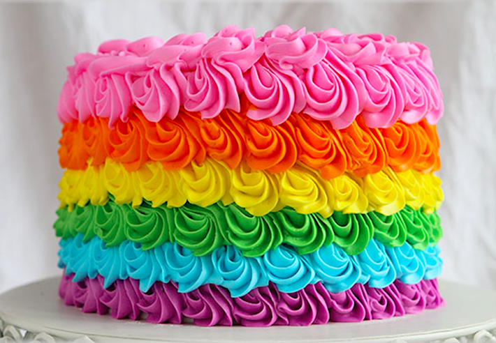 Ideas for decorating rainbow layer cakes