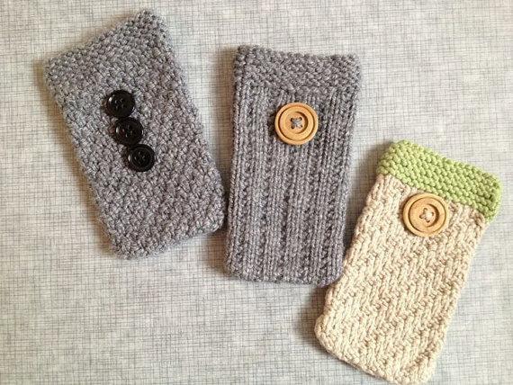 knit phone cozies