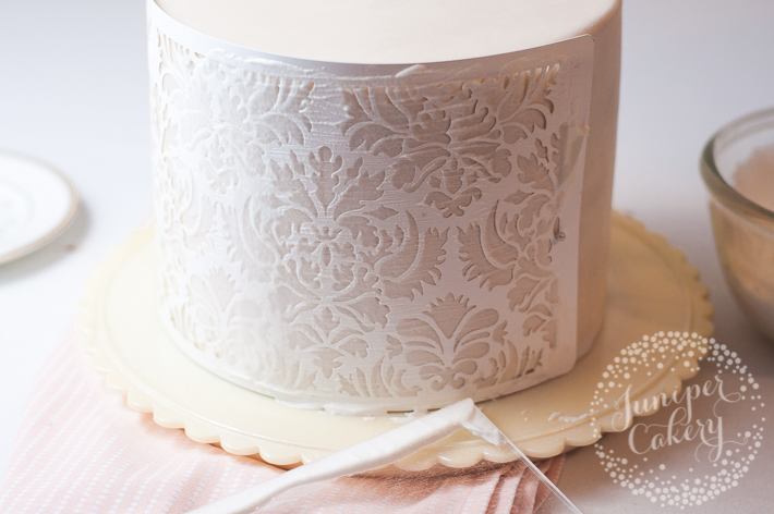Discover how to add stencil patterns to cake