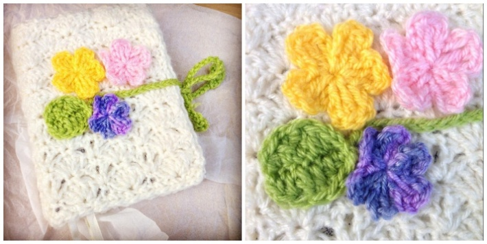 Crochet book cover Shell stitch pattern