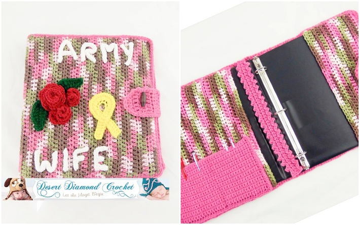 Crochet book cover ringbinder cover