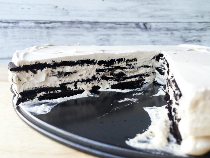 mocha icebox cake slice