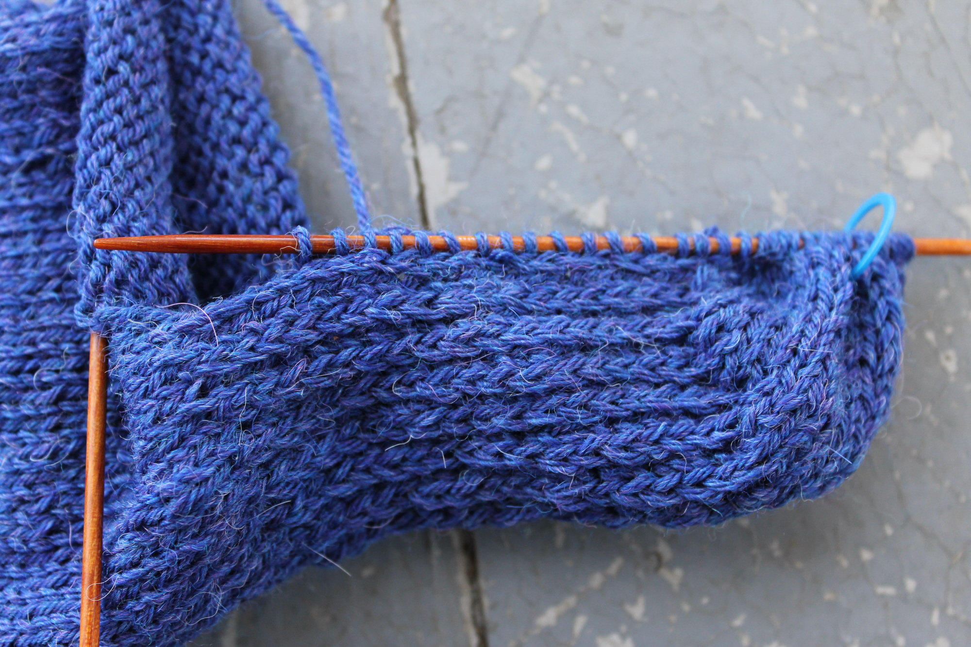 Picking up stitches on sock gusset