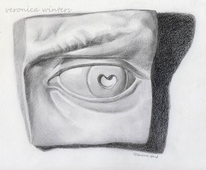 david's eye drawing in graphite