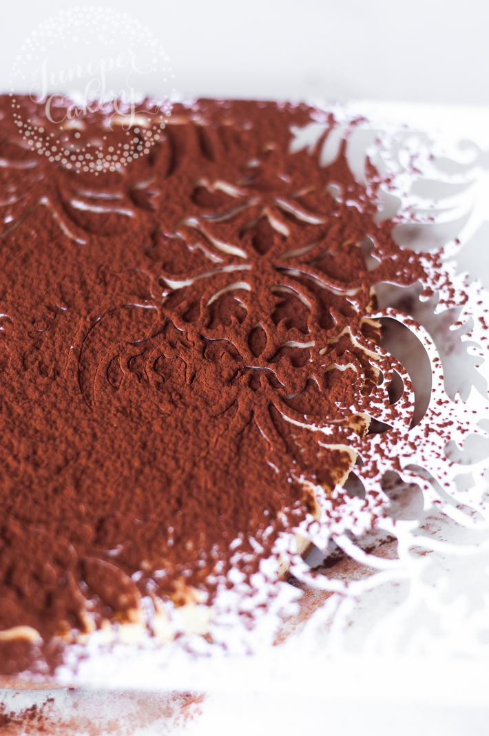 Use a stencil to dust cocoa powder over cakes or cheesecakes for quick decoration