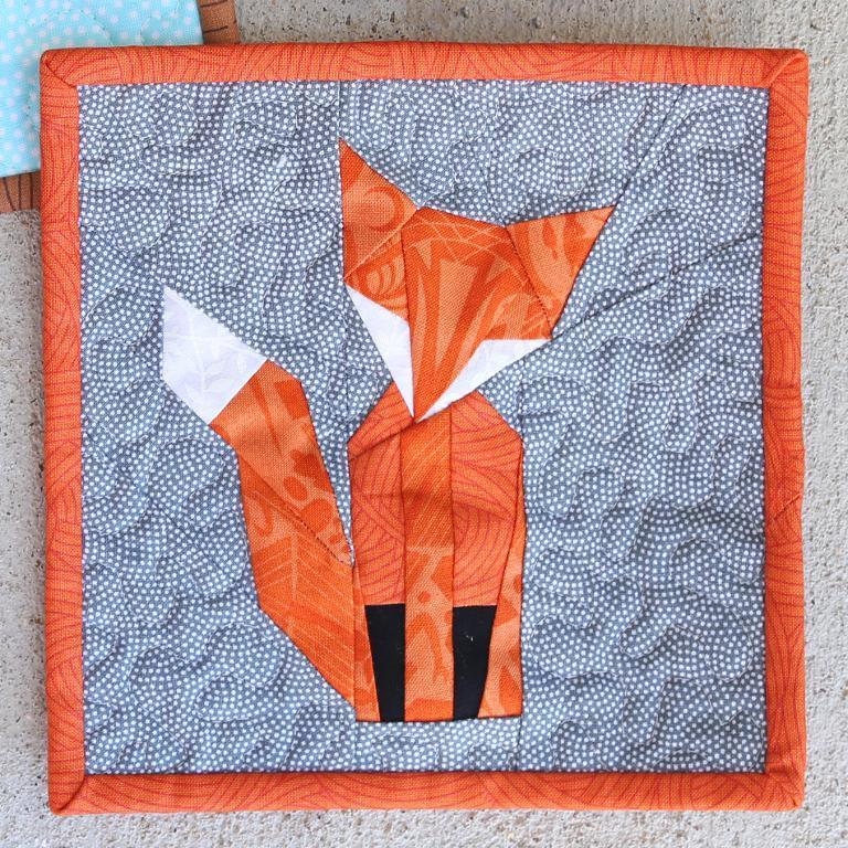 fox paper pieced quilt block