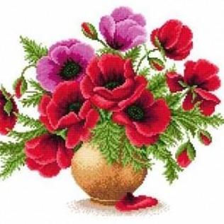 Vase With Poppies Cross Stitch