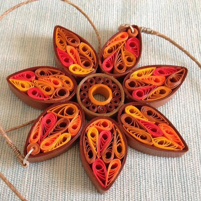 Quilled Paper Sunflower Necklace Tutorial