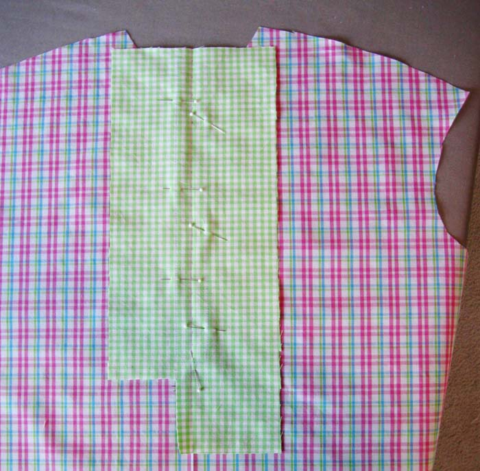 Pin placket piece on shirt front