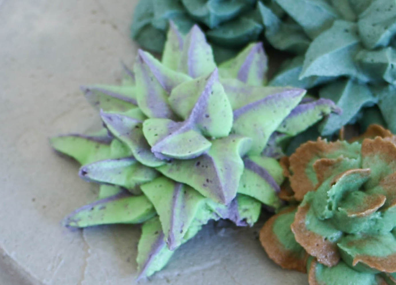 Green and Purple Spiky Buttercream Succulent