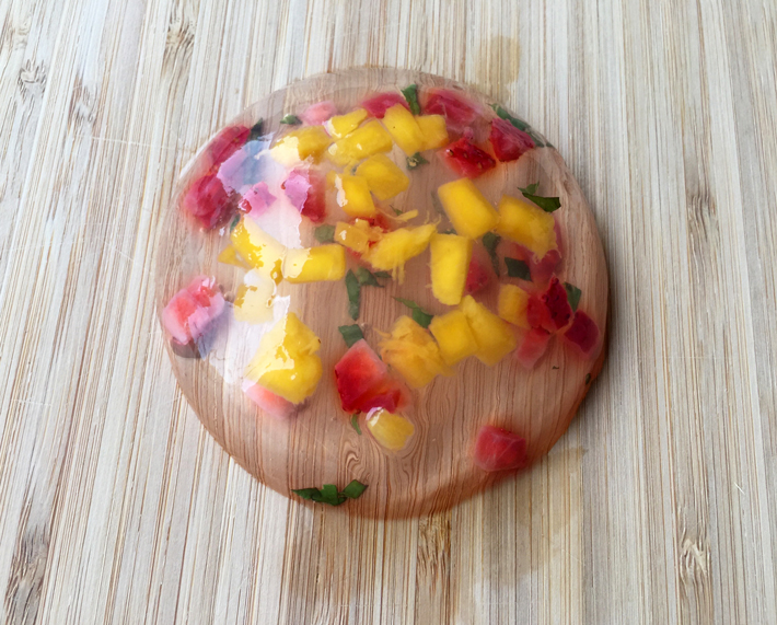 raindrop cake mango strawberry mint