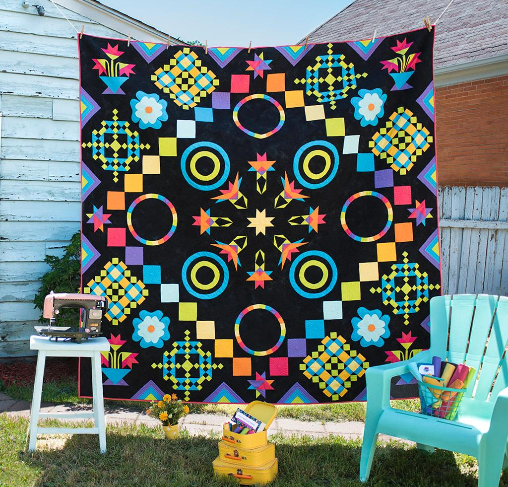 Black and Rainbow Quilt Kit