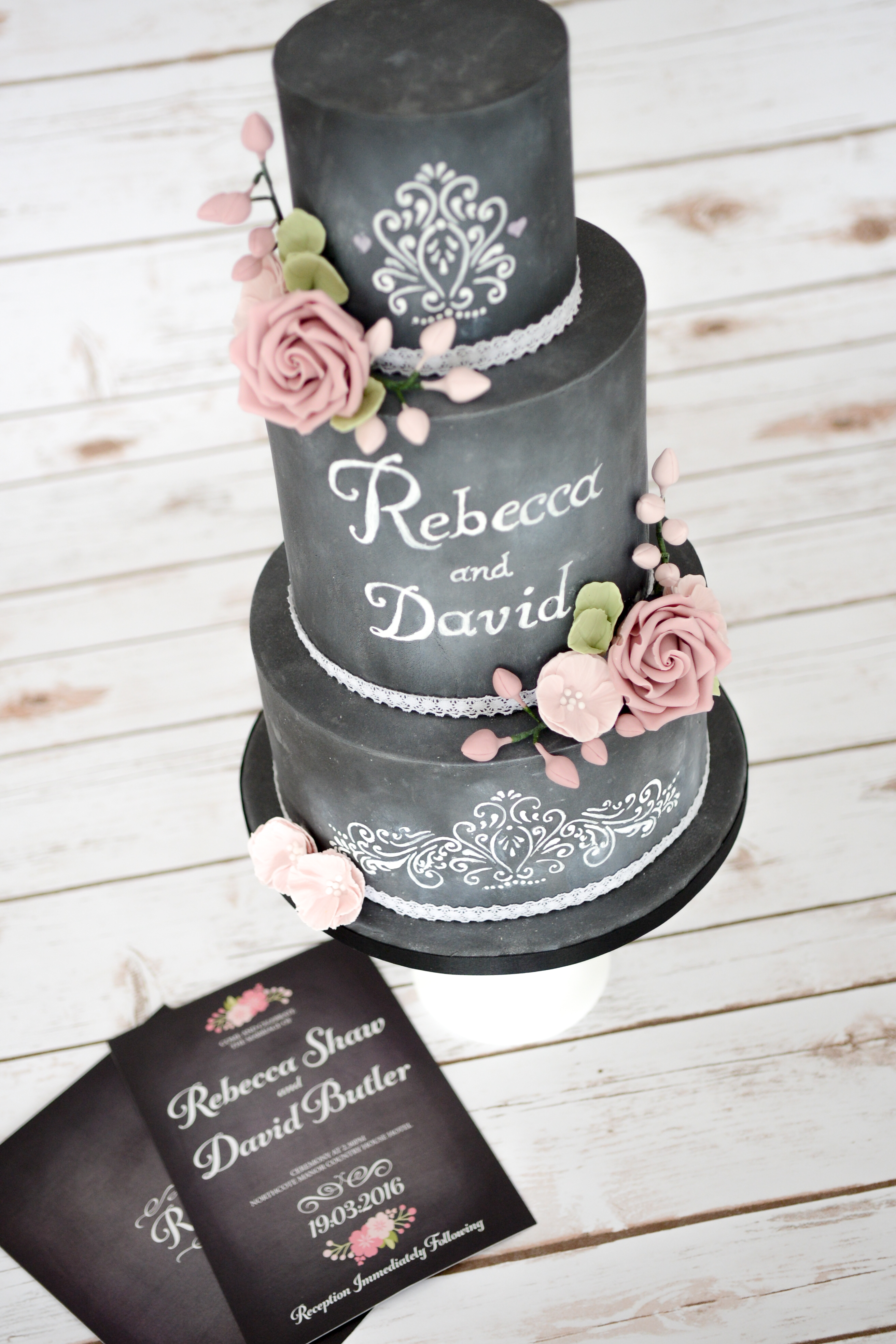 Chalkboard Personalized Wedding Cake