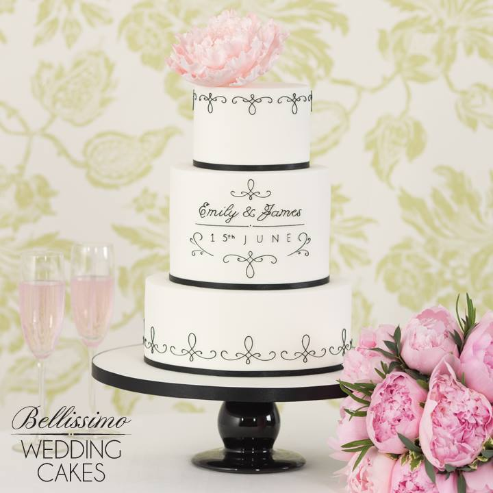 Wedding Cake with Black Piping