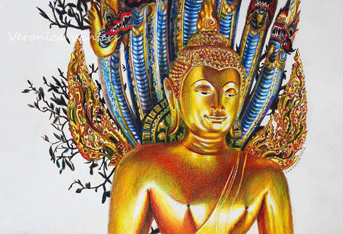 Golden buddha drawing