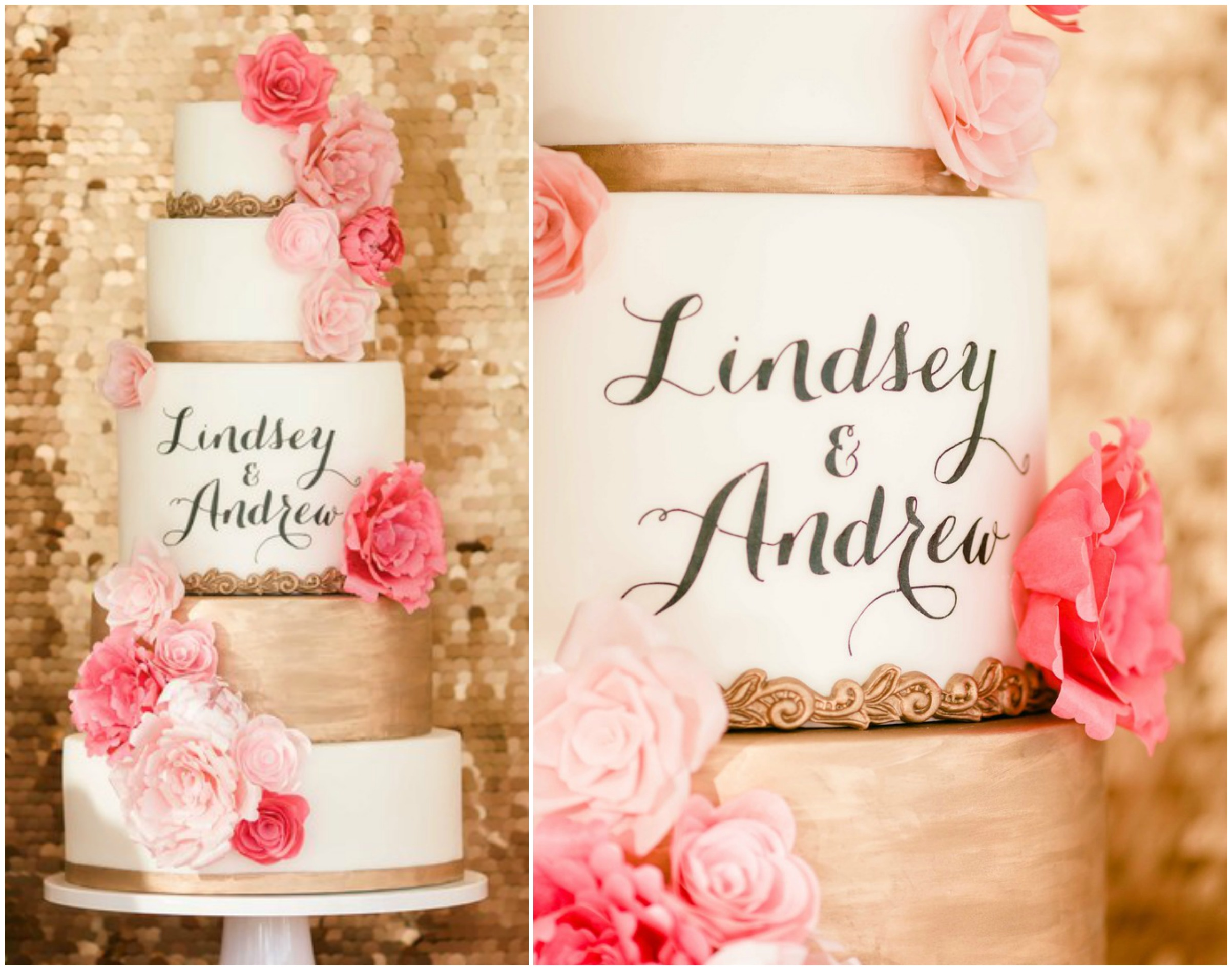 Pink and Gold Calligraphy Cake