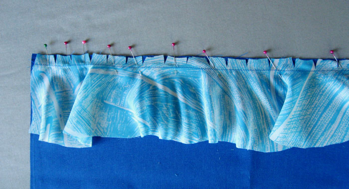 Sew ruffle to garment edge