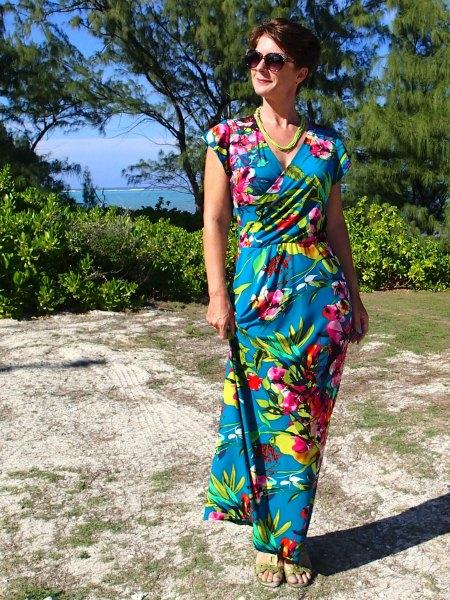 Designer Deby Coles Models a Tropical Dress She Made