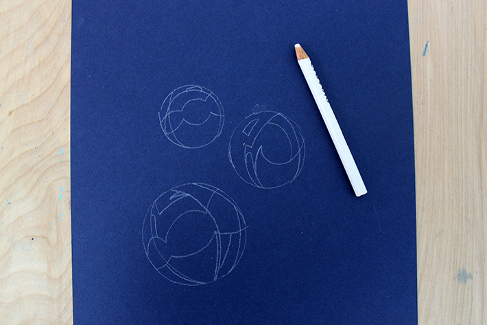 Bubble drawing on blue paper