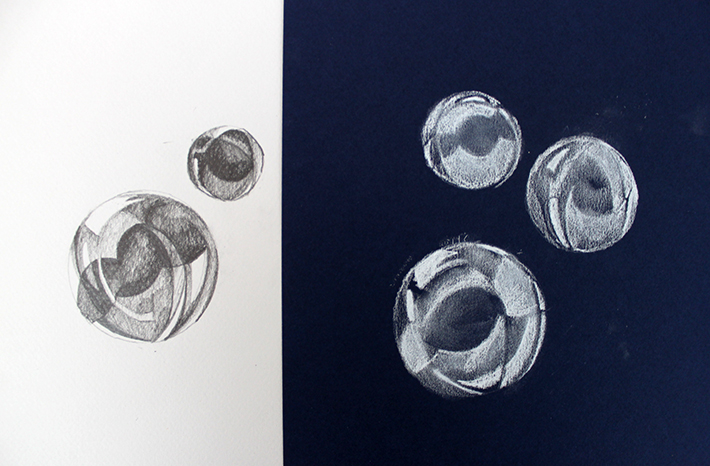 Two ways to draw bubbles