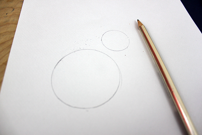 drawing circles on white paper