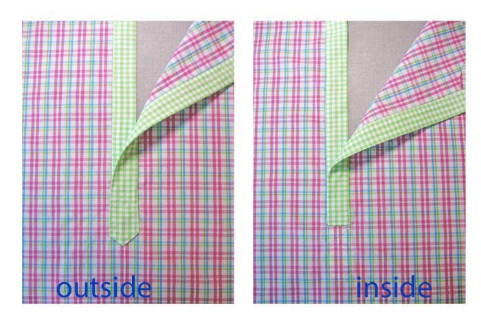completed placket inside and out
