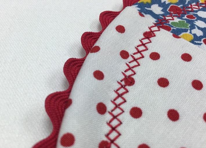 finish with decorative stitch around the edge