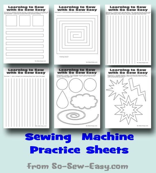 Learn to sew with these fun practice stitch sheets