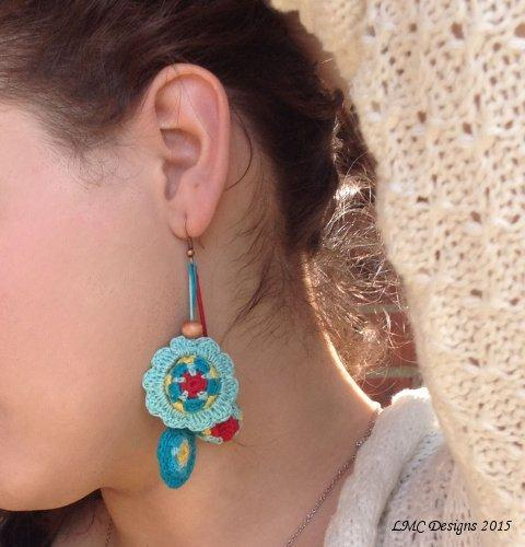 Mandala Flower Earrings Crochet Pattern