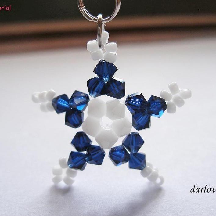 Blue White Star Charm