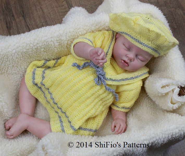 Sailor Dress Baby Knitting Pattern
