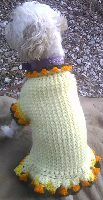 October Dog Sweater Dress Crochet Pattern