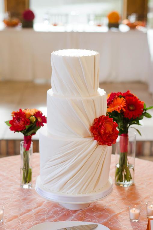 Rouched fondant wedding cake design