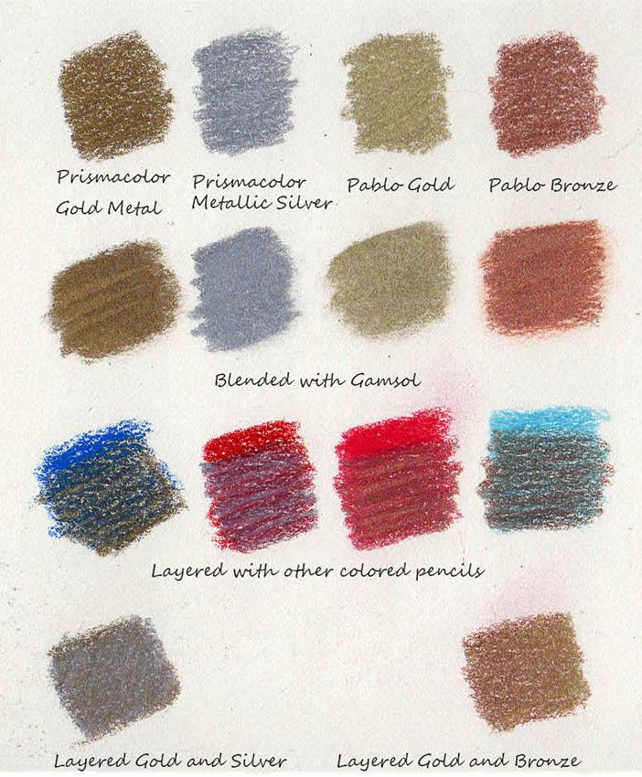 using metallic colored pencils