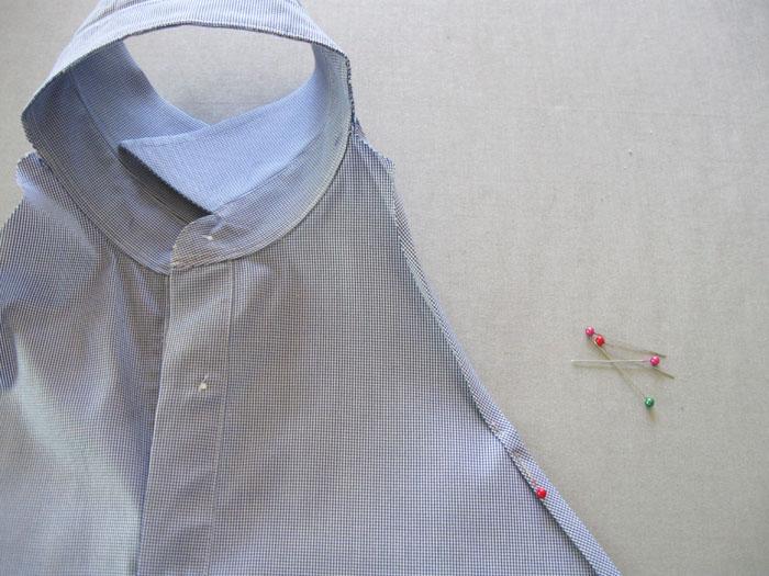 fold and sew edge of apron