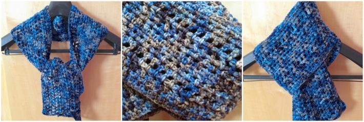 Free one skein crochet scarf cloudy skies pattern