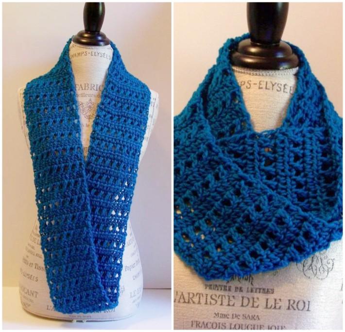 Free one skein crochet scarf pattern - blue infinity
