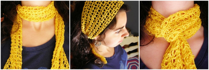 Free one skein crochet scarf pattern - the Yellow scarf