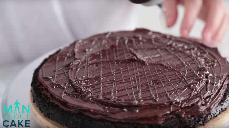 Chocolate Cake Layer With Chocolate Buttercream and Chocolate Ganache