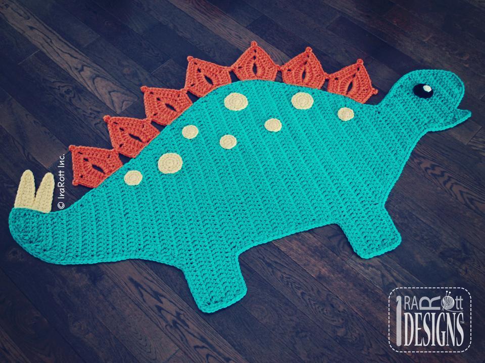 Stegosaurus Dinosaur Rug Crochet Pattern