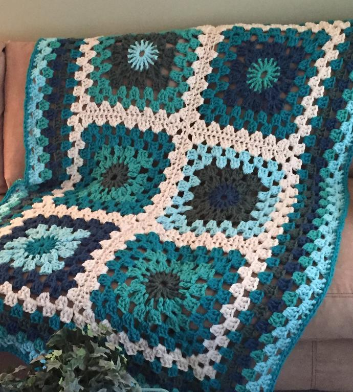 Big Blue Granny Afghan