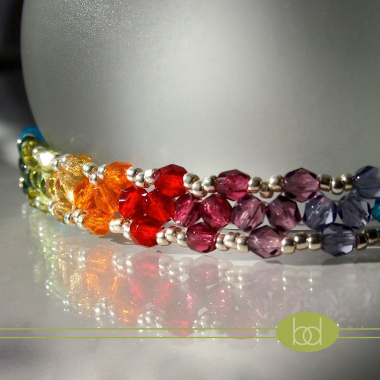 Rainbow triangle weave bracelet
