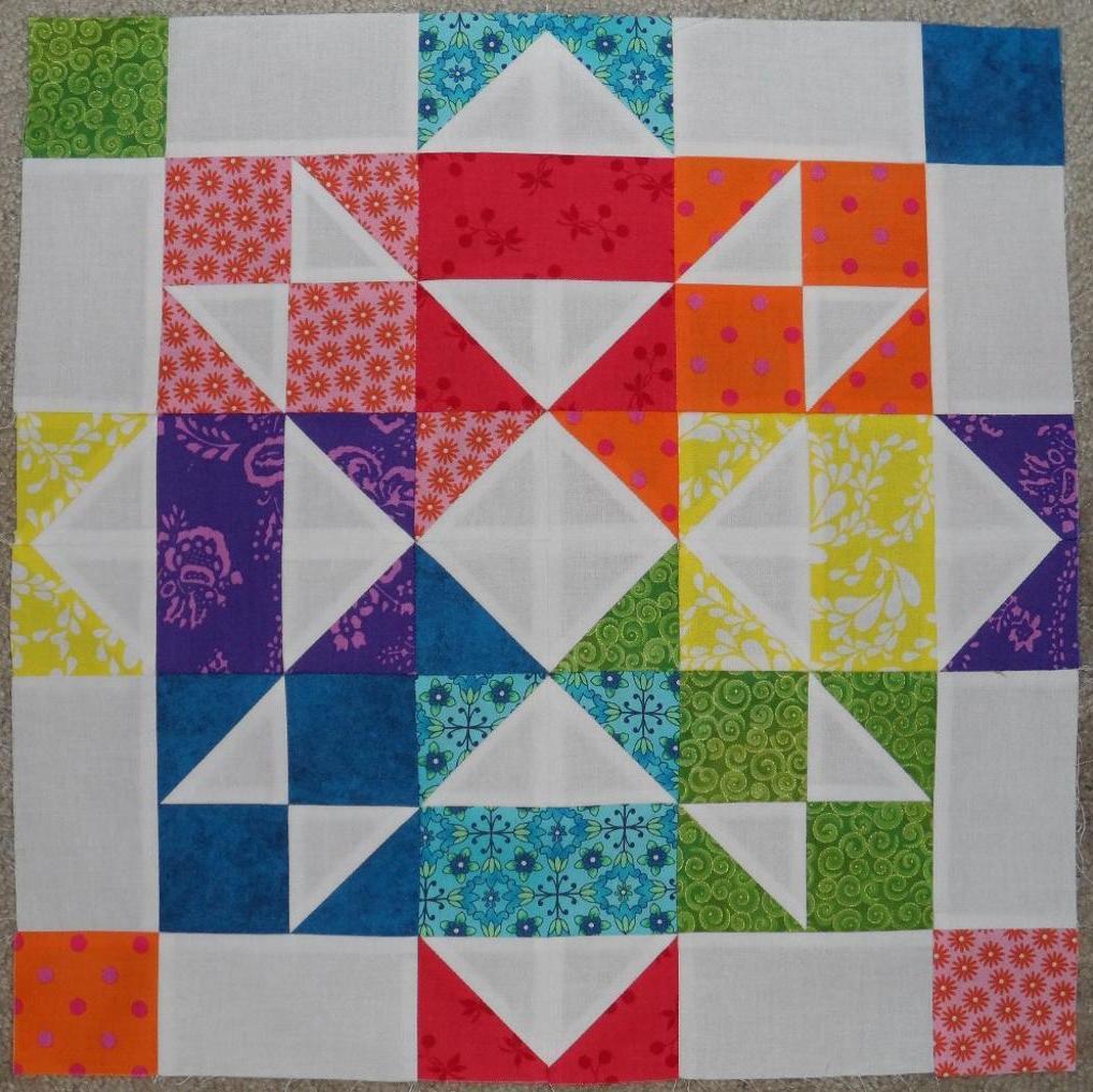 Scattered Rainbow Quilt Block
