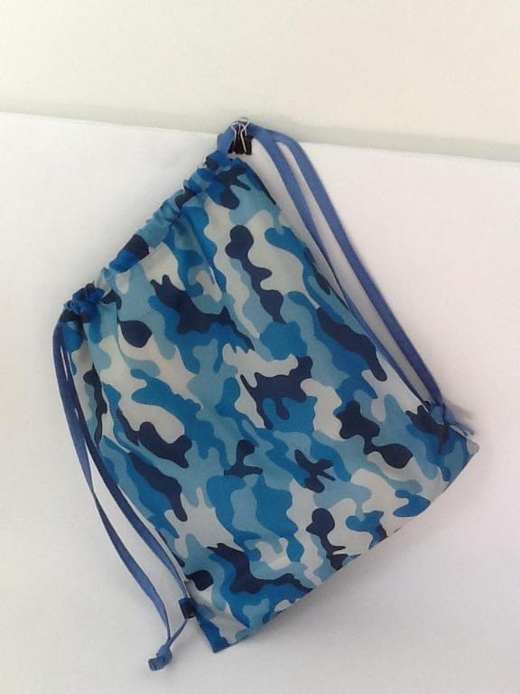Blue Camo Drawstring Backpack
