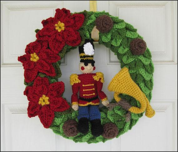 Nutcracker Toy Soldier Christmas Wreath Crochet Pattern
